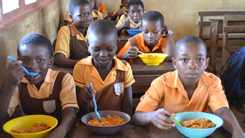 Pupils during the feeding programme