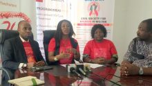 L-R Walter Ugwuocha, Executive Secretary of Civil Society for HIV/AIDS in Nigeria, Mrs Oluwakemi Gbadamosi and Maureen Onyia - Ekwuazi, head occupational health and safety NLC