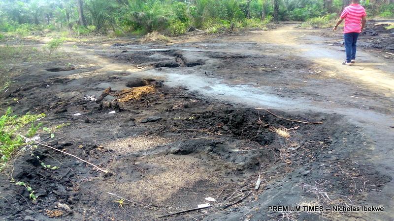 Oil spill near a farmland in K-Dere, Ogoniland