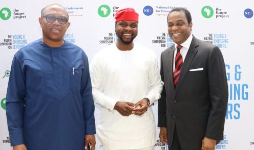 L-R, Peter Obi, former governor, Anambra state, Adebola Williams, Co-founder, RED and Donald Duke, former governor at The Nigeria Symposium for Young and Emerging Leaders