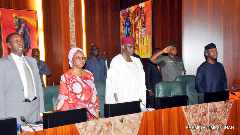 FROM LEFT: National Security Adviser, retired Maj.-Gen. Babagana Mongunu; Head of the Civil Service of the Federation, Mrs Winifred Oyo-Ita; Chief of Staff, Alhaji Abba Kyari; and Acting President Yemi Osinbajo, at the Federal Executive Council Meeting in Abuja on Wednesday (24/5/17).02749/24/5/2017/Callistus Ewelike/EO/BJO/NAN