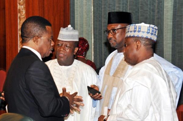 File photo of Governors Willie Obiano of Anambra; Abdulazizi Yari of Zamfara; Abubakar Sani-Bello of Niger; and Aminu Tambwal os Sokoto State, at the National Economic Council Meeting in Abuja on Thursday (24/5/17). 02801/25/5/2017/Callistus Ewelike/BJO/NAN