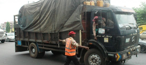 FIle photo of FRSC officers apprehending a truck driver [Photo: NAN]