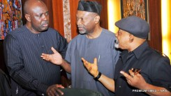 FILE PHOTO: FROM LEFT: Minister of State for Agriculture, Sen. Heinekaen Lokpobiri; Minister of Budget and National Planning, Sen. Udoma Udo Udoma; and Minister of Labour and Employment, Sen. Chris Ngige, at a Federal Executive Council Meeting
