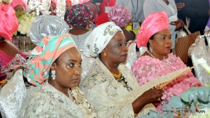 FROM LEFT: Former First Ladies, Hajia Turai YarÁdua, Justice Fati Abubakar and Dame Patience Jonathan, at the marriage of Halima Babangida, last daughter of former Military President Ibrahim Babangida in Minna on Friday (12/5/17).02631/12/5/2017/Callistus Ewelike/BJO/NAN