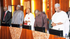 A cross-section of Ministers observing 'A Minute Silence' in honour of the late State House Correspondent and staff of Channels Television, Mr Chukwuma Onuekwusi, at the Federal Executive Council Meeting in Abuja on Wednesday (24/5/17).02751/24/5/2017/Callistus Ewelike/EO/BJO/NAN
