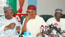 Pic.34. From left: Deputy Chairman (North), All Progressives Congress (APC), Sen. Lawal Shuaibu; APC National Chairman, Chief John Odigie-Oyegun; and the National Secretary of the party, Alhaji Mai Mala Buni, during a meeting between the APC Governors and the party's National Working Committee, in Abuja on Wednesday (24/5/17). 02781/24/5/2007/Hogan-Bassey/BJO/NAN