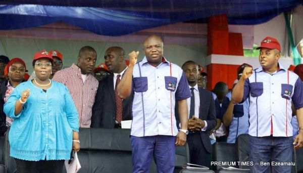 Lagos State Governor, Mr. Akinwunmi Ambode (middle), with his Deputy, Dr. (Mrs) Oluranti Adebule (left) and member, Lagos State House of Assembly, Hon. Adedayo Famakinwa during the 2017 Workers Day rally in commemoration of the Lagos @ 50 celebrations at the Agege Stadium, Lagos, on Monday, May 1, 2017.