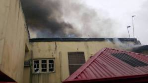 Scene of the fire incidence that engulfed the Lagos residence of a former Chief of General Staff, Oladipo Diya.
