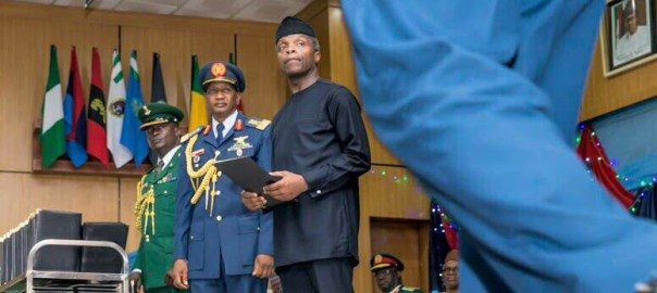 Acting President Yemi Osinbajo as a Special Guest of Honour at the graduation of the 2017 class of Senior Course 39 of the Armed Forces Command & Staff College, Jaji, Kaduna state