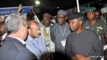 R-L: Acting President, Prof Yemi Osinbajo; Minister of Mines and Steel Development, Dr Kayode Fayemi ; Minister of State for Mines and Steel Development, Hon Abubakar Bawa Bwari with some exhibitors at the  National Mining Summit (ConMin west Africa) at the International Conference Centre, Abuja….on Tuesday.