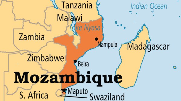 Mozambique on map