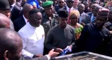 Ag President Osinbajo commissioning a project in Calabar [Photo: Channels TV]