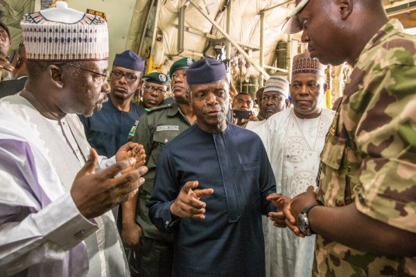Ag President Osinbajo is in Maiduguri today to flag off the AsoRock Food Distribution Programme [Photo Credit: <a href=