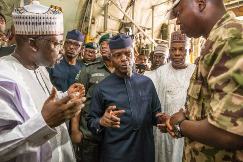 Ag President Osinbajo is in Maiduguri today to flag off the AsoRock Food Distribution Programme [Photo Credit: @NGRPresident]