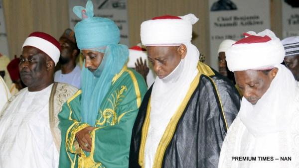 From Left: Shehu of Bama, Alhaji Kyari Uman El-Kanemi; Emir of Kano, Alhaji Mohmammed Sanusi (II); Sultan of Sokoto, Alhaji Abubakar Saa'd (III) and Emir of Gwandu, Alhaji M I Basher during Breaking of Fast with the Acting President Yemi Osinbajo at the Presidential Villa Abuja on Monday (19/6/17)