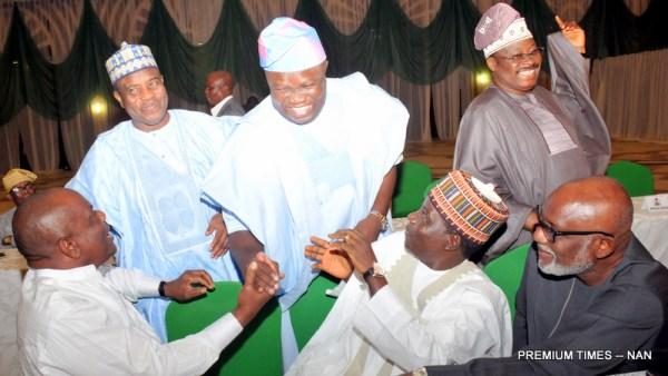 FILE PHOTO: From Left: Governors Nyesom Wike of Rivers; Aminu Tambwal of Sokoto; Akinwunmi Ambode of Lagos; Simon Lalung of Plateau; Abiola Ajimobi of Oyo and Rotimi Akeredeolu of Ondo during their meeting with Acting President Yemi Osinbajo at the Presidential Villa in Abuja on Tuesday (20/6/17) 23455/21/6/2017/Callistus Ewelike/NAN