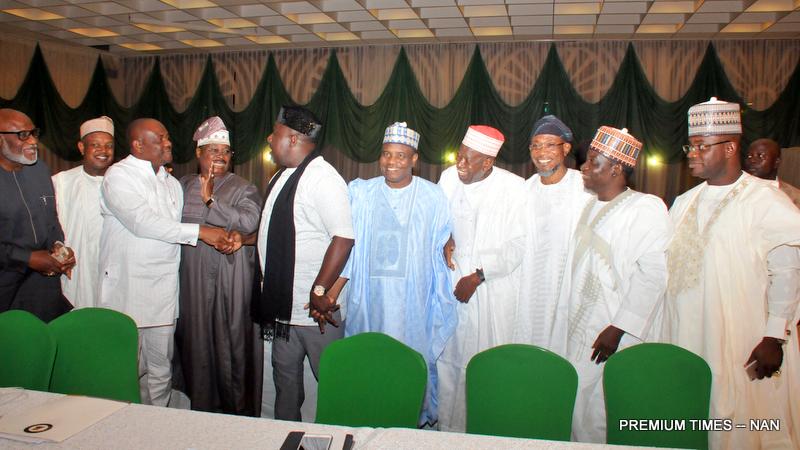 From left: Governors Rotimi Akeredolu of Ondo; Atiku Bagudu of Kebbi; Nyesom Nwike of Rivers; Abiola Ajimobi of Oyo; Rochas Okorocha of Imo; Aminu Tambwal of Sokoto; Abdullahi Ganduji of Kano; Rauf Aregbesola of Osun; Simon Lalung of Plateau and Yahaya Bello of Kogi State during their meeting with Acting President Yemi Osinbajo at the Presidential Villa in Abuja on Tuesday (20/6/17) 23457/21/6/2017/Callistus Ewelike/NAN