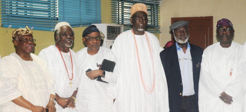 From left: Chief Olabode George, Chief Olapade Agoro, Mr Folu Olamiti, Otunba Deji Osinbogun, Chief Bode Olajumoke, and Mr Olusegun Ahmadu, at a Unity Retreat by Yoruba Leadership and Peace Initiative, in Ibadan on Thursday (29/6/17). 03611/29/6/2017/Esther Bode-Are/BJO/NAN