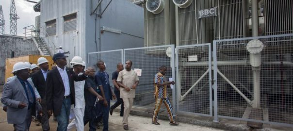 Hon. Minister of Power, Works  Housing, Mr Babatunde Fashola, SAN(right) and Managing Director/Chief Executive Officer, Afam Power Plc, Engr. Olumide Noah Obademi(left) during the inspection tour of the Afam Power Plant in  Afam, Port Harcourt, Rivers State on Thursday 8th, June 2017.