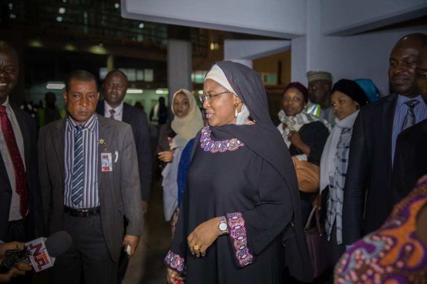 Aisha Buhari on return from UK on Tuesday, June 6, 2017