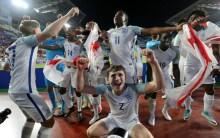 England U20 team celebrates after winning the final match against Venezuela (Photo Credit: The Sun)