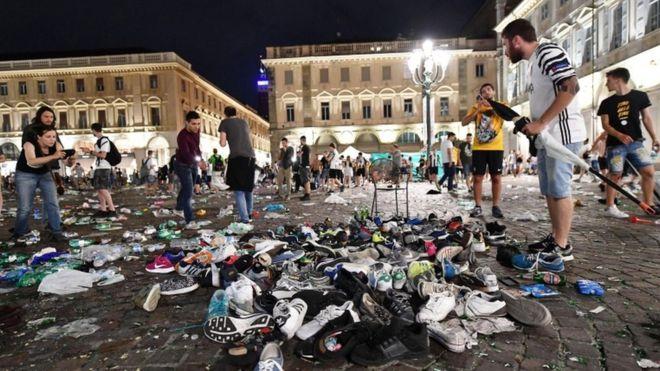 Juventus fans hurt after crowd stampede in Turin