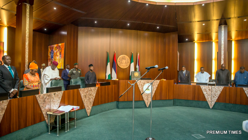 Acting President Yemi Osinbajo during the swearing ceremony of the new ministers (Alh. Shehu Hassan and Prof. Stephen Ocheni) at FEC meeting, State House, Abuja. 26th July 2017. Photos: NOVO ISIORO.