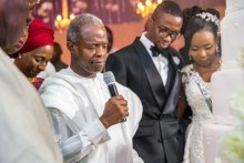Acting President Yemi Osinbajo; and wife H.E, Dolapo Osinbajo with the couples and parents during the wedding ceremony in Ogun State. 8th July 2017. Photos: NOVO ISIORO