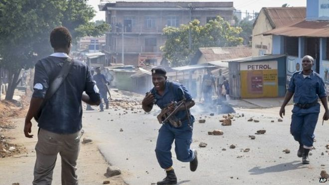 A chaotic scene in Burundi used to illustrate the story [Photo Credit: BBC.com]