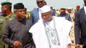 Acting President, Yemi Osinbajo with Sokoto governor, Aminu Tambuwal