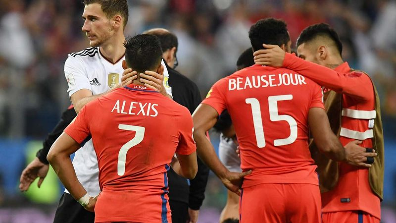 Chile's players react after their defeat at the 2017 Confederations Cup final football match between Chile and Germany at the Saint Petersburg Stadium in Saint Petersburg on July 2, 2017. FRANCK FIFE / AFP