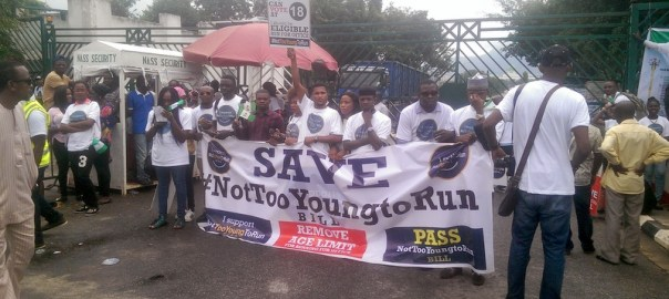 File photo of the #NotTooYoungToRun protesters shutting down the National Assembly gate