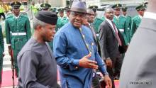 Acting President Yemi Osinbajo and Rivers State Governor, Nyesom Ezenwo Wike during an airport reception for the Acting President in Port Harcourt on Thursday.