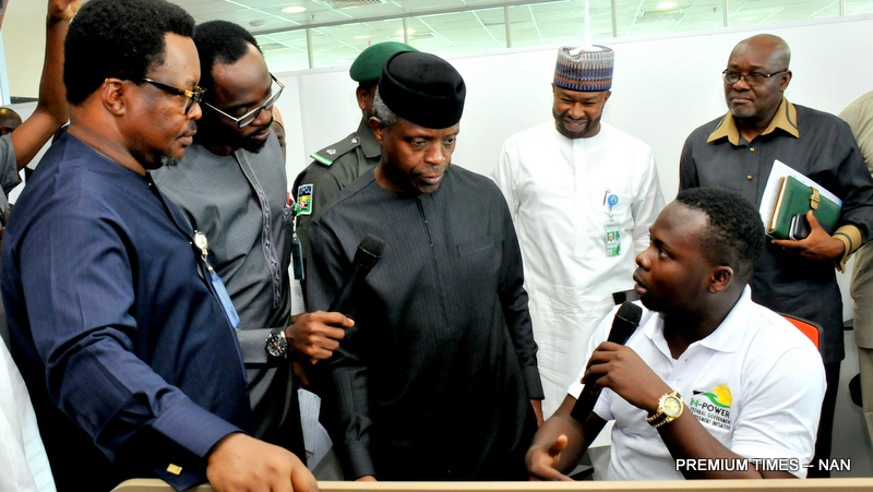 FROM LEFT: Managing Director, Niger Delta Power Holdings Company (NDPHC), Mr Chiedo Ugbo; Senior Special Assistant to the President on Job Creation, Mr Afolabi Imoukhede; Acting President Yemi Osinbajo and Executive  Director,  Bank of Indusry, Mr Jonathan Tobin during the visit of the Acting President to N-Power  Call Centre in Abuja on Friday (14/7/17) 03547/17/7/2017/Callistus Ewelike/NAN