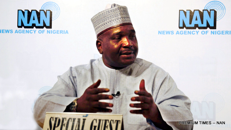 Vice Chairman of the Presidential Committee on North-East Initiative, Tijjani Tumsah, speaking on the News Agency of Nigeria (NAN) Forum, at the Agency's headquarters in Abuja on Sunday (9/7/17).  03388/9/9/7/2017/Jones Bamidele/JAU/NAN