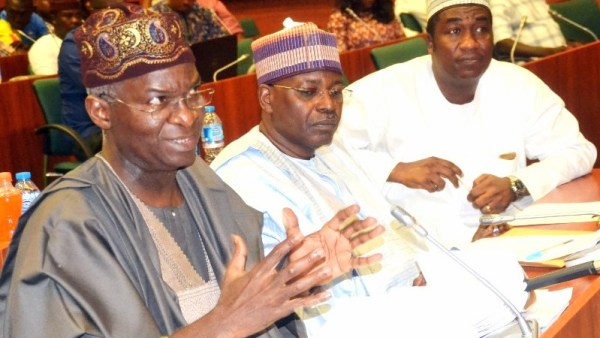The Hon. Minister of Power, Works and Housing, Mr Babatunde Fashola , SAN (left), Special Adviser on Works to the Minister, Dr Obafemi Hamzat,(right) and the Director of Finance and Accounts, Alhaji Ibrahim Tumsa during a Hearing of the House of Representatives' Investigative Committee on Breach of Privilege, Violation of Appropriation Act and Incitement of the Nigerian Public attended by the Hon. Minister at the Conference Room 034 of the House of Representatives ,National Assembly Complex on Friday,28th July 2017.