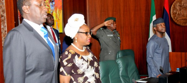 FROM LEFT: National Security Adviser, retired Brig.-Gen Babagana  Mongulu; Head of Civil Service of the   Federation, Mrs Winifred Oyo-Ita and Acting President Yemi Osinbajo at the Federal Executive Council Meeting at the   Presidential Villa Abuja on Wednesday (12/7/17) 03468/12/7/2017/Callistus Ewelike/NAN