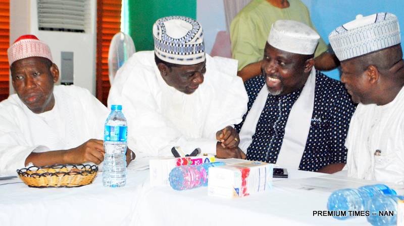 From left: Governors: Abdullahi Ganduje of Kano; Simon Lalong of Plateau State; Rochas Okorocha of Imo State; and Abdul'aziz Yari of Zamfara State, during  a meeting between APC Governors and the Party's National Working Committee in Abuja on Wednesday (9/7/2017). 03638/19/7/2017/Hogan Bassey/JAU/NAN