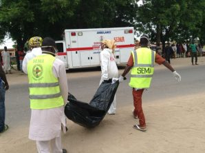 File photo of Borno State Management Agency (SEMA) officials evacuating body of a female suicide bomber at the Red Bricks quarters in Dalori, community in Maiduguri on Monday (24/7/17). 03739/24/7/2017/Suleiman Hamza/DKO/ICE/NAN