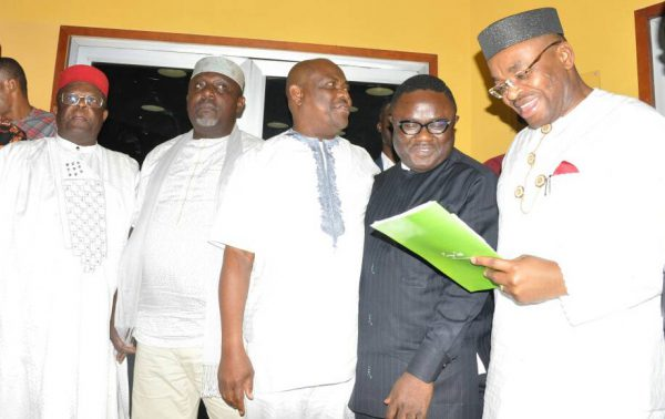 Pic.3. Interim Chairman of the South-East, South-South Governors Forum, Gov. Udom Emmanuel of Akwa Ibom (R), addressing newsmen after the Forum's meeting in Enugu on Monday (10/7/17). With him from left are: Govs. Dave Umahi of Ebonyi; Rochas Okorocha of Imo; Nyesom Wike of Rivers; and Ben Ayade of Cross River. The Forum seeks to pursue inter-regional cooperation and appoints Akwa Ibom Governor as Interim Chairman.03398/10/7/2017/Mike Agada/BJO/NAN