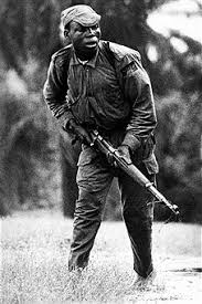 Picture taken on July 1968 showing the lieutenant colonel Ogbonnaya Oji during a battle of Nigerian Civil War. Source: Gettyimages
