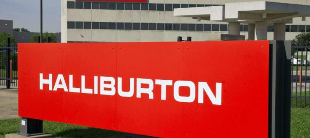 The company logo of Halliburton oilfield services corporate offices is seen in Houston, Texas in this April 6, 2012 file photo. Halliburton Co said October 17, 2012 that its third-quarter profit fell due to inflated raw material costs and a slowdown in U.S. drilling, which showed no signs of picking up as many clients' budgets for the year were already spent.   REUTERS/Richard Carson/Files    (UNITED STATES - Tags: BUSINESS LOGO ENERGY)