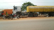 The Dangote Truck that crushed to death,  two on a motorcycle Saturday in Kaduna.