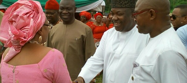 "Gov. Ifeanyi Ugwuanyi of Enugu State (2nd right); Deputy President of the Senate, Senator Ike Ekweremadu (2nd left); Deputy Governor of Enugu State, Hon. Mrs. Cecilia Ezeilo (left) and the Transition Committee Chairman, Ezeagu Local Government Area, Hon. Fred Ezinwa, at the presentation of ""Ofo"" as a symbol of support and endorsement to the Governor and his Deputy for 2019 general election by the people of Ozom Aguobu Owa Community, Ezeagu Council, yesterday."