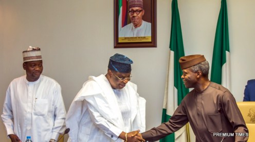 Acting President Yemi Osinbajo, SAN, with Otumba Henry Ayamale, Forum Chairman, during the meeting with APC Party Chairmen from 36 States and FCT at the State House in Abuja. Photos: NOVO ISIORO