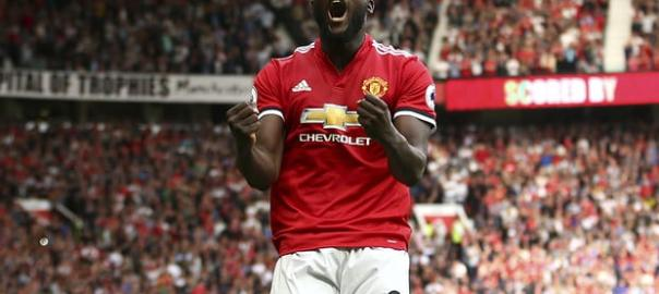 Romelu Lukaku celebrates. Photograph: Dave Thompson/AP