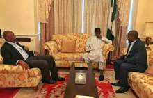 Buhari meets Saraki, Dogara in London [Photo: Femi Adesina's Facebook page]