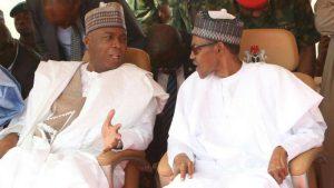 Senate President, Bukola Saraki and President Muhammadu Buhari. [Photo credit: Nigeria Today]