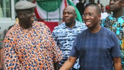 Delta State Governor, senator Ifeanyi Okowa (right) and South-South PDP Chairman, Sir. Emmanuel Ogidi, during the Inspection of Eagle Square Venue, for the PDP Convention at Abuja.